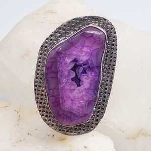 Purple Stone Silver Ring Genuine Druzy Agate Stone